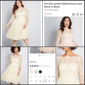 Gilded Grace Lace Dress Cream Sheer mesh w Tulle